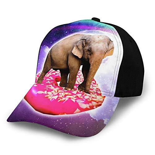 TYUO Unisex 3D Baseball Cap Elefant Riding Donut in Space Regenbogen Einstellbare Snapback Caps Trucker Hüte Sportmütze