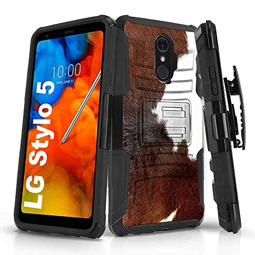 TalkingCase Black Dual Layer Phone Case for LG Stylo 5,5v,Dairy Cow Fur,Full Protection,Kickstand,Belt Clip Holster,Designed and Printed in USA