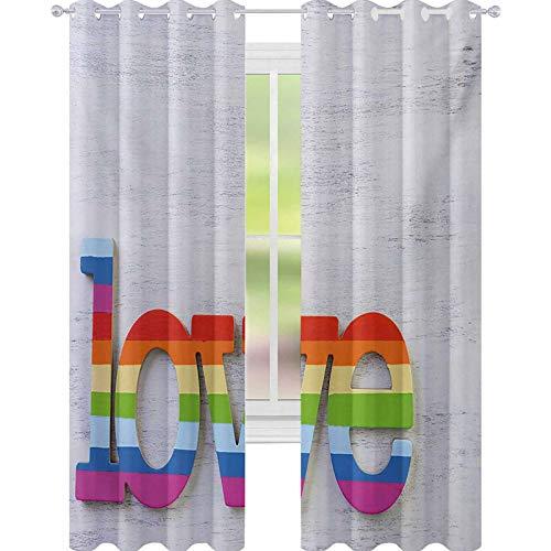 """YUAZHOQI - Cortina opaca para ventana, color arcoíris con texto en inglés """"Love"""", diseño de San Valentín sobre telón de fondo de madera, 52 x 241 cm, color multicolor"""