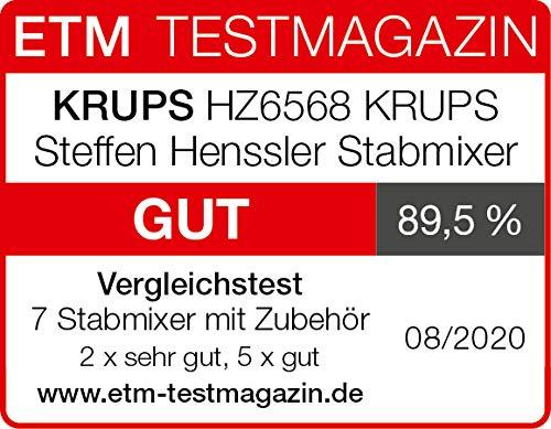 Krups-Stabmixer-HZ6568-Steffen-Henssler-Special-Edition-Inklusive-Schneebesen-500ml-Zerkleinerer-800ml-Messbecher-1000W-4-extra-scharfe-Messer-Powelix-Technologie-EdelstahlDunkelgrau