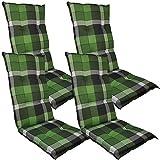 DILUMA Hochlehner Auflage Naxos für Gartenstühle 118x49 cm 4er Set Karo Grün - 6 cm Starke Stuhlauflage mit Komfortschaumkern und Bezug aus 100% Baumwolle - Made in EU mit ÖkoTex100