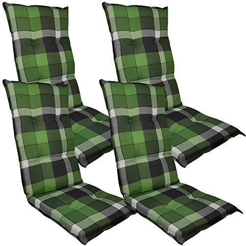 Diluma Hochlehner Auflage Naxos für Gartenstühle 4er Set 118x49 cm Karo Grün - 6 cm Starke Premium Stuhlauflage mit Komfortschaumkern - Sitzauflage Made in EU