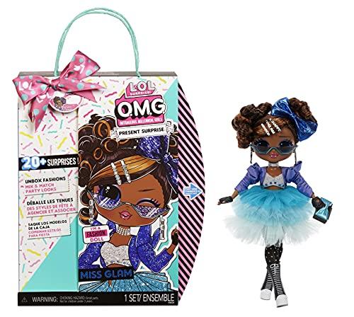 L.O.L. Surprise!- LOL OMG Present Surprise Moda Miss Glam. con 20 sorpresas temáticas, Ropa y Accesorios. Muñeca de colección niñas a Partir de 4 años, Color (576365C3)