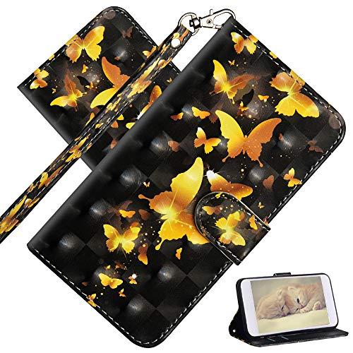 COTDINFOR Compatible with Nokia 2.4 Hülle 3D Painted Cover Flip Schutzhülle Handy Tasche Schale mit Magnet Standfunktion Etui für Nokia 2.4 Golden Butterflies YX.