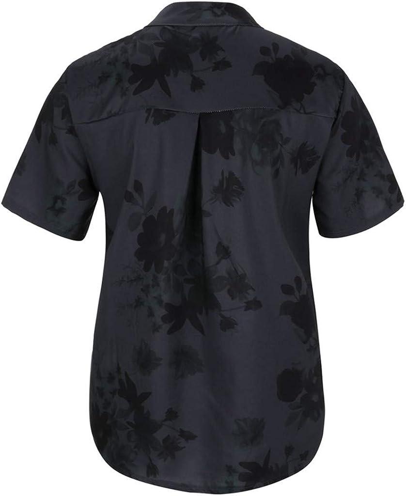 POPLY Frauen Große Größe Top Shirt Damen Drucktasche Kurzarmbluse Tank Tops Bohemian Lässige T-Shirt Plus Size Taste Hemd Schwarz