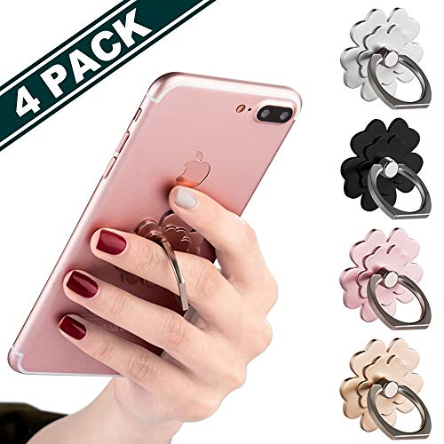 Phone Ring Stand [4 Pack] - JCHIEN Universal Phone Finger Ring Grip Stand Holder Compatible with iPhone Xs Max XR X 8 7 6 6s Plus, Samsung Galaxy S9 S8 Plus S7 S6 & Other Smartphones