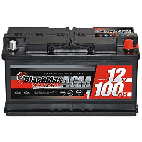 BlackMax Autobatterie Start-Stopp 100Ah 12V AGM Starter VRLA statt 95Ah 92Ah