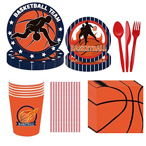 Noe 93 Teile Basketball Theme Partygeschirr für 8 Personen, Basketball Party Supplies Jungen World Sports Game Celebration Dekor, Basketball Party Set inklusive Teller Servietten Becher