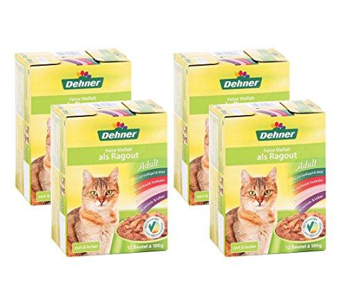 Dehner Katzenfutter, Multipack 4 x 12 Beutel, feine Vielfalt, mit Fisch, 4 x 1200 g (4.8 kg)