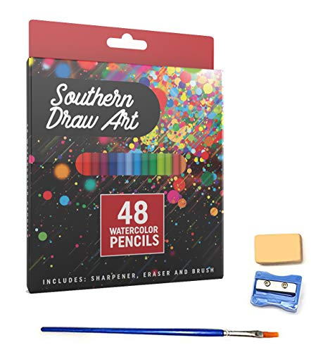 Watercolor Pencils Set for Drawing, Painting and Coloring with Eraser, Sharpener and Blending Brush (48 Colors)