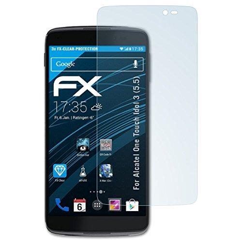 atFolix Schutzfolie kompatibel mit Alcatel One Touch Idol 3 (5.5) Folie, ultraklare FX Bildschirmschutzfolie (3X)