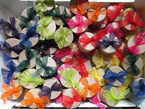 Die Seedball-Manufaktur Überraschungs-Seedball Organzaschleifen, Naturfarbene Dose mit bunt gemischten Schleifen, 5 cm im Durchmesser