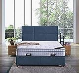 Cama canapé Madrid con canapé de tela, cama doble color azul real, tamaño 140 x 200 cm
