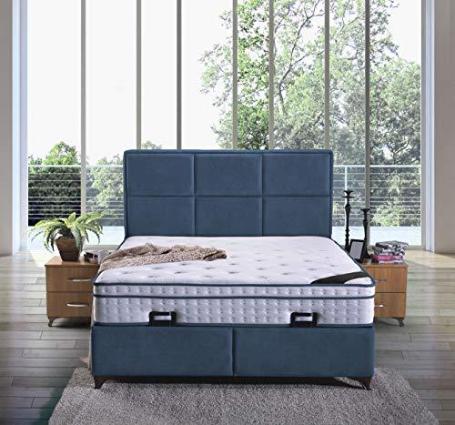 Cama con somier Madrid con canapé de tela, cama doble de hotel, superficie de descanso, 200 x 200 cm, color azul real