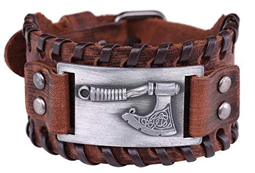 Vintage Amulett nordischen slawischen Mythos Axt von Perun Irish Knot Manschette Metallverbinder braunes Lederarmband für Männer, Frauen (braunes Leder, antikes Silber)