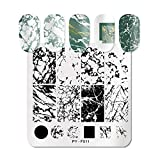 Nail Stamping Plate Square Shape Templates DIY Print Accessories Nails Art Supplies Decoration Tool (F11 Marble)