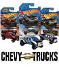 Hot Wheels '19 Chevy Silverado Trail Boss LT 3 Pack Bundle