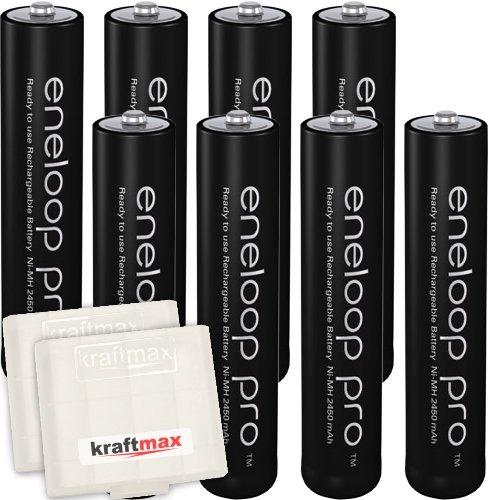 Kraftmax 8er-Pack Panasonic Eneloop PRO XX AAA / Micro Akkus - Neueste Generation - 930 mAh Hochleistungs Akku Batterien in Kraftmax Akkubox V5, 8er Pack