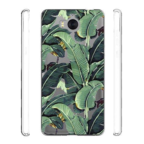 IJIA Hülle für Huawei Y5 2017 / Y6 2017 Transparente Grüne Bananenblätter TPU Weich Silikon Stoßkasten Cover Handyhülle SchutzCover Handyhüllen Schale Case Tasche für Huawei Y5 2017 / Y6 2017