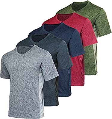 5 Pack: Men's Athletic V Neck T-Shirt Quick Dry Fit Dri-Fit Short Sleeve Active Wear Training Exercise Fitness Workout Tee Fitness Gym Workout Clothing Undershirt Sports Wicking Top-Set 11,M