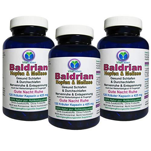 BALDRIAN + HOPFEN + MELISSE 360 (3x120) Pulver Kapseln. Nerven Beruhigung + Entspannung & schöner Schlaf + GUTE NACHT. NATUR pur - ohne ZUSATZSTOFFE. 26660-3