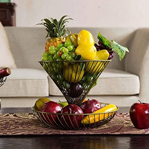 Plato de Frutas Bandeja De Fruta, Plato De Fruta Seca Hogar De Dos Capas Sala De Estar Moda Creativa Plato De Fruta Plato De Fruta Moderno Cesta de Frutas(Color:champán)