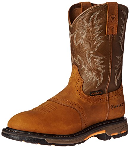 Ariat Workhog Pull-on Work Boot – Men's Leather, Round Toe, Western Work Boot, Aged Bark, 9.5 D US