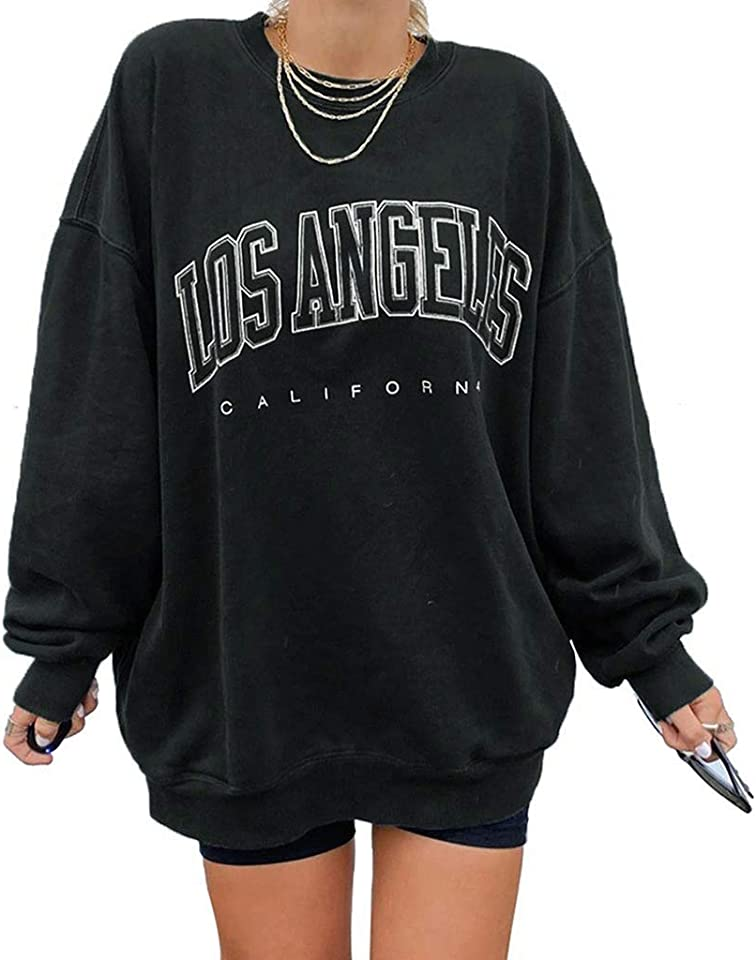 Damenpullover Rundhals Lange Ärmel Musterdruck Mittlere Länge Übergröße Sportswear Tops Retro Mode Sweatshirt Oberteile Teenager Mädchen