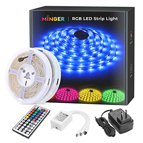 MINGER LED Strip Lights Kit, 32.8ft Waterproof 5050 RGB LED Strips Lighting 10m Flexible Color Changing Rope Lights with 44 Key IR Remote Ideal for Room, Home, Kitchen, Party, 12V/3A ETL Listed (2x5m)