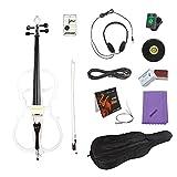 ammoon 4/4 tamaño completo de madera maciza violoncello eléctrico cuerpo madera de arce ébano accesorios blanco perla en estilo 1 con sintonizador auriculares Gig bolsa