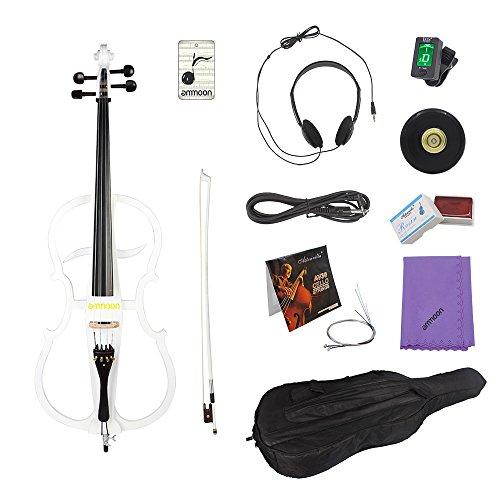 ammoon 4/4 tamaño completo de madera maciza violoncello eléctrico cuerpo madera de...