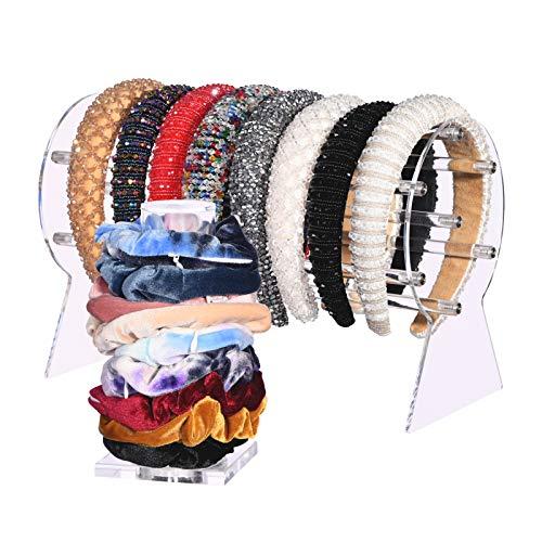 Clear Headband Holder Organizer and Scrunchie Holder Stand,Clear Jewelry Organizer for Teen Women Gifts,PerfectNecklaces Storage Headband Display Organizer