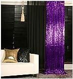 Sequin Curtains 2 Panels 2FTx8FT Purple Glitter Backdrop Purple Sequin Photo Backdrop Backdrop Curtains M1120