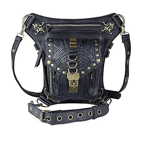 steel master Victorian Retro Shoulder Waist Bags Steampunk Goth PU Leather Leg Thigh Holster Bags