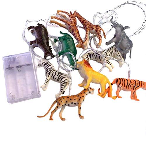10 luces LED de animales silvestres cadena de luces de cadena de luces para colgar con USB, alambre de cobre, para habitación de niños, decoración de jardín al aire libre