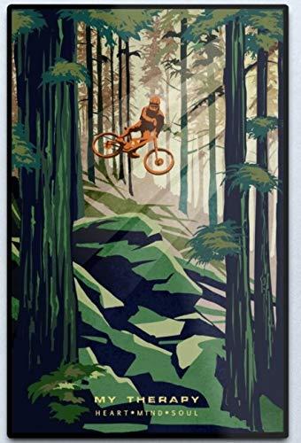 graman Vintage Rustikale Wanddekoration Blechschild My Therapy Mountainbike Blechschild Poster Vintage Metallschilder für Bar Music Club Man Cave Room Wanddekoration 30,5 x 20,3 cm
