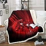 Manta de felpa para videojuegos, Gamepad Sherpa - Manta de forro polar para sofá, cama, dormitorio, moderna consola de jugador, manta de felpa roja, 122 x 152 cm
