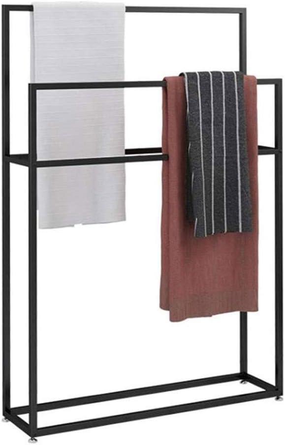 WING Handtuchständer freistehend Metall handtuchhalter Bad stehend schwarz Baden Handtuchständer mit 3 Handtuchstangen Badaccessoire und