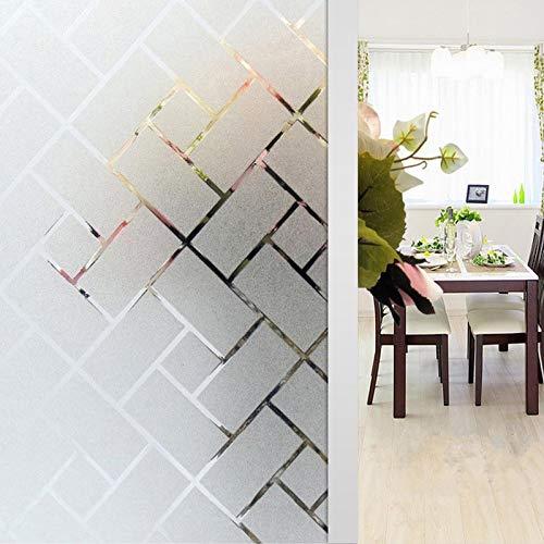 Zindoo Geometrie Fensterfolie Sichtschutz Sichtschutzfolie Ohne Kleber Milchglasfolie Gute Privatsphäre Schutz für Badezimmer, Umkleide und Konferenzräume 90 x 200CM
