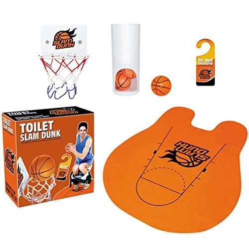 JiuRong Toilette Slam Dunk Basket Ball Spiel, lustige Toiletten Basketball Spielzeug Set mit Basketballkorb und 3 Bälle und WC-Matte, Badezimmer Basketball Dekompressionsspiel