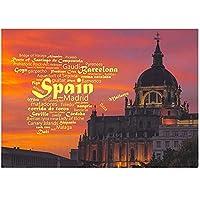 スペインからの旅行のご挨拶キャンバス絵画ヴィンテージポスタークラシックウォールウォールアート保育園キッズベッドルームの装飾-60x90cmx1フレームなし