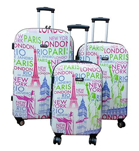 Kemyer, Wheeled Hardside Polycarbonate Spinner, 3 Piece, Luggage Set (Eiffel)