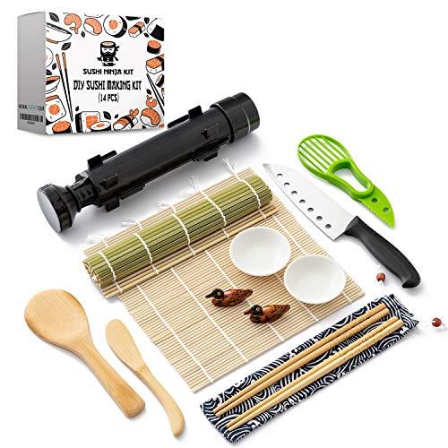 Sushi Ninja  Sushi Making Kit w/ Bazooka Sushi Roller   Avocado Slicer   Sushi Mat   Bamboo Rolling Mat   Sushi Knife   Sushi Eating Utensils   2x Soya Sauce Dish