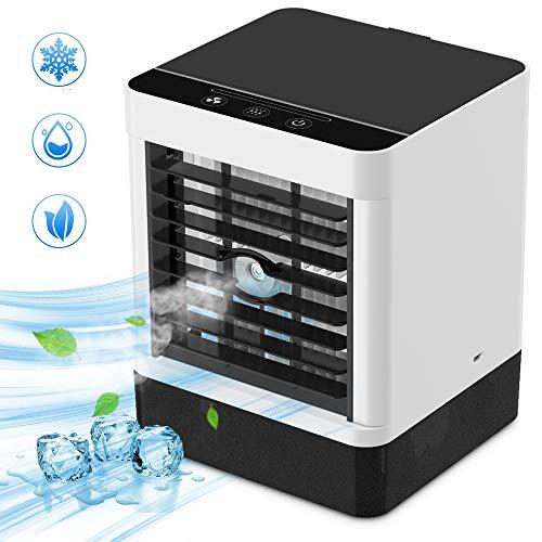Mobile Klimaanlage, Luftkühler Klein Persönliche Klimaanlage, Verdunstungsgerät Luftbefeuchter Lufterfrischer Ventilator mit 3 Geschwindigkeiten für Schlafzimmer Wohnzimmer Büro (Weiß)