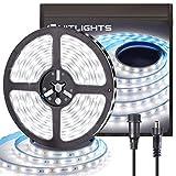 HitLights LED Strip Lights Waterproof Cool White 16.4FT 300LEDs 5000K LED Tape Light 23.5W 12V 2835 UL-Listed Dimmable LED Strips for Home Outdoor Under Cabinet Decorations