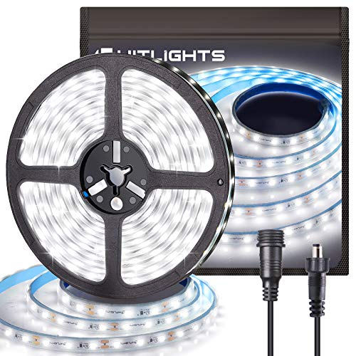HitLights Impermeables Luces Led Strip, 16,4 pies, IP 67-300 LED, 5000K, 164 lúmenes por pie. 12 Vdc cinta de LED se encienden, los listados UL impermeable 300LED Blanco frío