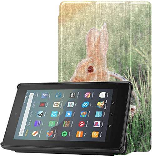 All-New Amazon Fire 7 Tablet Case (9th Generation, 2019 Release) Slim Fit Pu Leather Standing Rabbit Basket Outdoor Fire 7 Tablet Standing with Auto Wake/Sleep