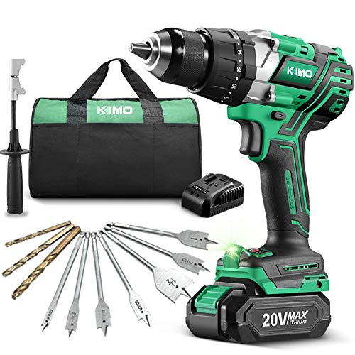 KIMO 20v Brushless Hammer Drill, 800 in-lb 1/2' Cordless Drill Driver w/Battery Fast Charger, Screwing Drilling Hammer Mode, Variable Speed Adjustable LED, Auxiliary Handle & Tool Bag