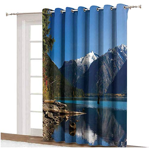 Landscape Window Curtain Mountain Countryside Winter Time Lake Mountain Forest View Photo Grommets Panels Printed Curtains ,Single Panel 100x108 inch,for Glass Door Blue White Dark Brown Green