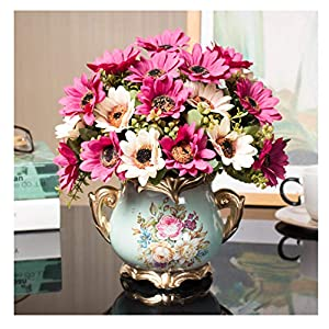 W&HH Artificial Flowers Plants, Fake Flowers in Ceramic Pot Faux Flower Arrangements Artificial Plant for Table Home Office Wedding DIY Decoration,A5